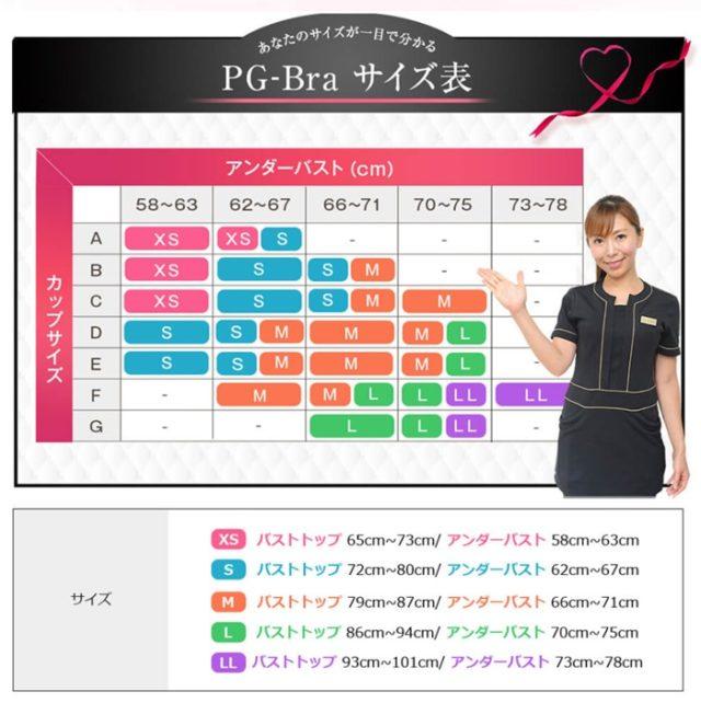 PG-Bra サイズ表