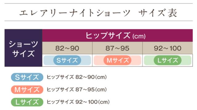 エレアリーナイトショーツ サイズ表